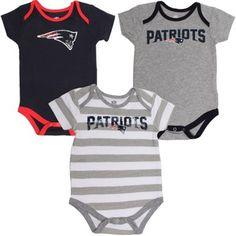 Infant New England Patriots Navy Blue/Striped/Gray Field Goal 3-Piece Creeper Set