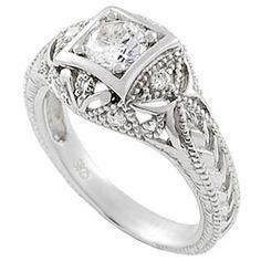 Tressa Collection Sterling Silver Vintage Art Deco CZ Bridal & Engagement Ring