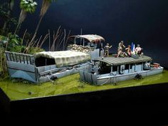 Vietnam Party by Jose Brito Military Action Figures, Custom Action Figures, Diorama Militar, Brown Water Navy, Good Morning Vietnam, Utility Boat, Chevy, Indochine, Water Effect