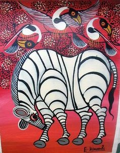 Tinga Tinga Paintings from Tanzania  Tinga Tinga painting began with Edward Saidi Tingatinga, who was born in 1937 to a family of subsistence farmers in southern Tanzania. In 1953 he traveled to Dar-es-Salaam in search of work and labored at odd jobs in the construction industry until 1961. Impressed by the ease with which western style paintings by Zairian artists sold to tourists he decided to try his hand as a painter