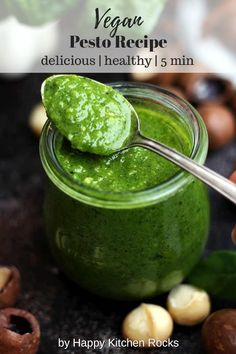 only Vegan Pesto recipe you'll ever need! This delicious, cheesy and healthy vegan pesto sauce contains 5 ingredients and only takes 5 minutes to make. Serve it with pasta, bread, grilled vegetables or potatoes. Only 186 calories per serving! Healthy Pesto Sauce, Vegan Pesto, Vegan Vegetarian, Vegetarian Recipes, Healthy Recipes, Basil Pesto, Vegan Food, Vegan Sauces, Vegan Dishes