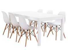 Moderni valkoinen ruokailuryhmä valkoisilla Dio tuoleilla