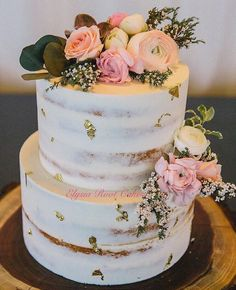 Gluten free *and* dairy free semi-naked wedding cake by Elysia Root Cakes - Bruidstaart Pretty Cakes, Beautiful Cakes, Gluten Free Wedding Cake, Bolos Naked Cake, Nake Cake, Lemon And Coconut Cake, Engagement Cakes, Rustic Cake, Floral Cake