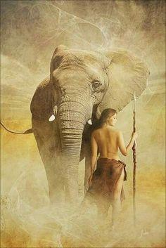 Elephant and Huntress