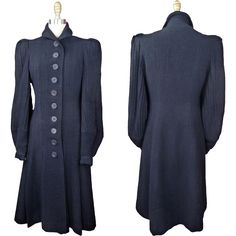 Late 1930s to Early 1940s Wool Crepe Princess Coat