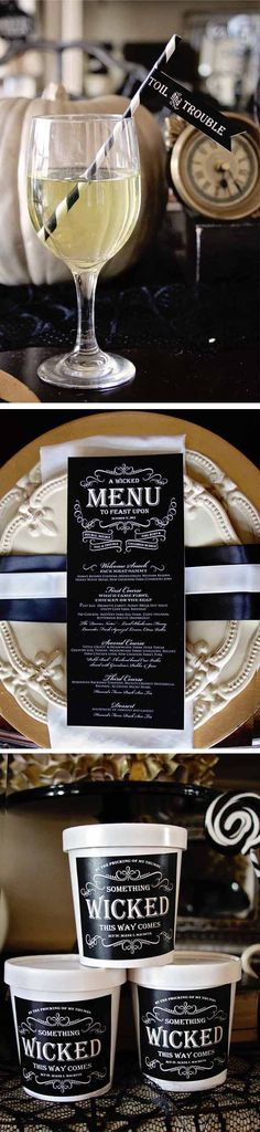 Like the striped paper straws and custom type labels/menu... Possibly fancy plates depending on $$    Loralee Lewis Witches Tea Halloween party 7