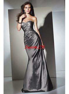 A-Linie Herzausschnitt Bodenlang Taft Abendkleider