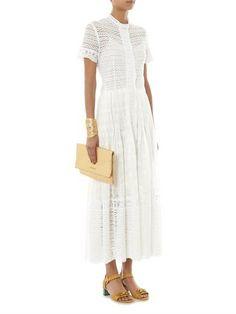 OSCAR DE LA RENTA Embroidered cotton-voile and lace dress
