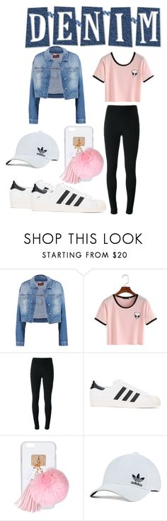 """""""Lisa's Denim with pink for contest"""" by watermelon-cdxii ❤ liked on Polyvore featuring 7 For All Mankind, Givenchy, adidas Originals, Ashlyn'd, Pink, denim, denimjackets and comp"""