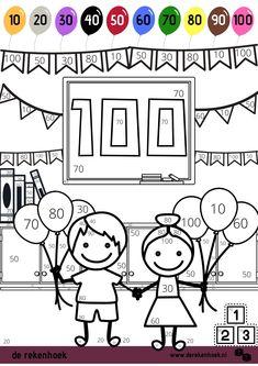 Download met kleurplaat (2 versies) en werkblad voor 100 dagen feest. 100th Day Of School Crafts, 100 Day Of School Project, 100 Days Of School, School Projects, Preschool Sight Words, Teaching Materials, Classroom, Kids, Maths Fun