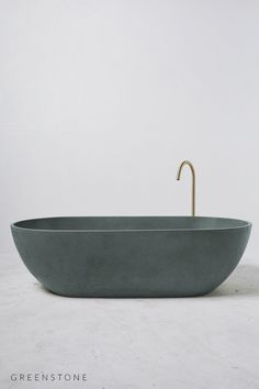 With it's streamlined edges and curved sides, the Concrete Valencia Bath is the perfect luxury for two. Concrete Bathtub, Ocean Colors, Colours, Concrete Interiors, Copper Bathroom, Valencia, Green Stone, Bathroom Interior Design, Interiores Design