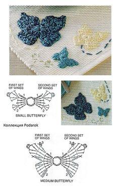 2D Crochet Butterfly Applique - Chart ❥ 4U // hf