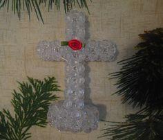Beaded cross plastic beaded cross standing by TillieLuvsTreasures