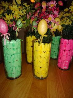 Dollar store Easter centerpieces