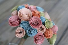 Paper Flower Bouquet of 40 in Pink Blue Green and by ThisLovelyDay, $48.00