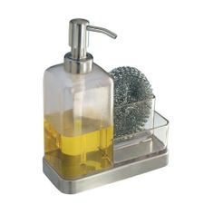 InterDesign Forma 2 Soap And Sponge Caddy, Clear/ Brushed Stainless Steel  Accents By