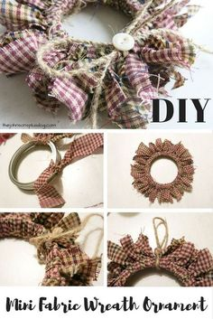 Love this idea of using a mason jar lid ring to make a mini wreath ornament ! DIY Homespun Fabric Christmas Ornaments - Click through for detailed tutorial for 4 different kinds of DIY Christmas ornaments. They make great handmade Christmas presents! Primitive Christmas Decor | Rustic Christmas Decor | Primitive Christmas Ornament #christmas #ornament #DIY #decor