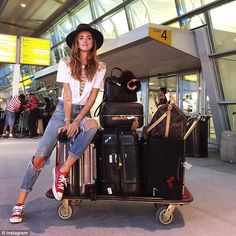 Too much baggage: Style bloggers, including The Blonde Salad's Chiara Ferragni, are travel...