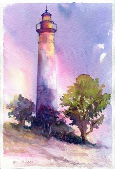 watercolor painting - lighthouse against a beautiful sky! Watercolor Pictures, Watercolor Landscape, Watercolour Painting, Painting & Drawing, Watercolours, Encaustic Painting, Painting Flowers, Watercolor Pencils, Lighthouse Painting