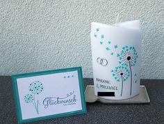 Hochzeitskerze mit Pusteblume und passender Karte #Hochzeitskerze #Pusteblume