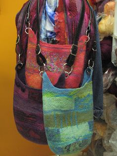 felted shoulder bags - straps attached using grommets - ANDREA GRAHAM