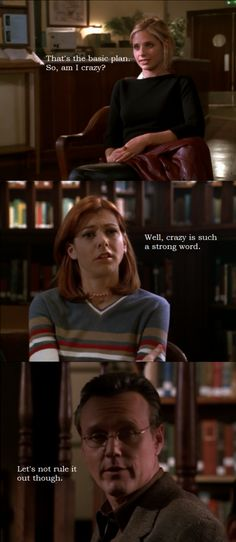 Buffy, Willow, and Giles from Buffy the Vampire Slayer.