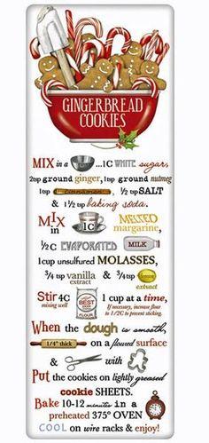 Gingerbread Cookies Recipe 100% Cotton Flour Sack Dish Towel Tea Towel