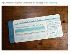 Letterpress airplane ticket save the date.