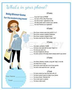 Baby Shower Game-Whats in your phone Blue Color