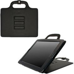 Several cases on this site with handles.  Executive Leather Travel Smart Case for iPad 2, iPad 3 and iPad 4th Generation (Black)