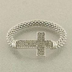 Silver Beaded Cross Bracelet