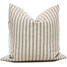 Shabby Chic Navy and Cream French Ticking Decorative Pillow Cover, Throw Pillow, Accent Pillow, Pillow Sham, Linen pillow cover