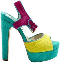 8d5dbb28d46 Brian Atwood Multicolour Pony-style calfskin Sandals Yellow Shoes