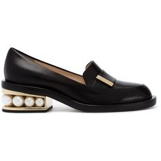 Nicholas Kirkwood embellished heel loafers (1 460 AUD) ❤ liked on Polyvore featuring shoes, loafers, black, leather loafer shoes, embellished shoes, black loafers, leather footwear and kohl shoes