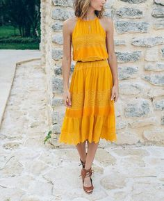 Yellow lace midi dress with brown sandals - LadyStyle