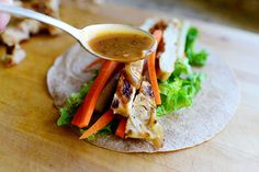 Thai Chicken Wraps by Ree Drummond / The Pioneer Woman, via Flickr  I WILL USE MY BROWN RICE WRAPS AND GF SOY SAUCE