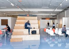 CHA:COL creates tech incubator space in California Corporate Office Design, Corporate Interiors, Office Interior Design, Office Interiors, Container Architecture, Space Architecture, Pop Up, Stair Shelves, Tiered Seating