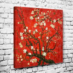 Kırmızı Zemin Badem Ağacı Tablo #başyapıt_tablolar #ünlü_ressamların_eserleri