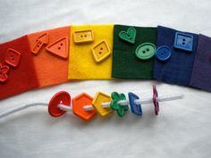 rainbow felt square button matching