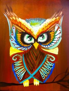 Primeaux Owl - Painting with a Twist (the background should not be exactly the same color as the owl's stomach).