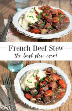 This French beef stew recipe really is the best stew ever! Served with garlic mashed potatoes is comfort food at it\'s best. Food Recipes For Dinner, Food Recipes Keto Beef Recipes, Soup Recipes, Whole Food Recipes, Dinner Recipes, Cooking Recipes, Healthy Recipes, Cooking Cake, Cooking Gadgets, Recipies