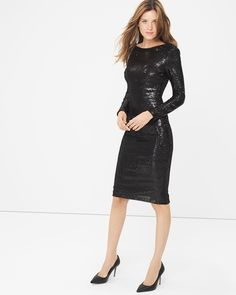 """With a sexy V-back, our sequined sheath dress looks as good going as it does coming. No accessories required—just pair it with our black Olivia Pumps for an always-perfect night out look.  V-back sequin sheath dress in black  Back zip; back slit Nylon. Hand wash cold. Regular: Approx. 43"""" from shoulder;  3"""" above the knee Petite: Approx. 39 5/8"""" Imported"""