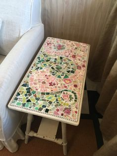 Flea market table with mosaic top
