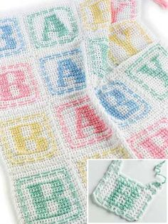 Free Baby Crochet Patterns | Crochet 'n' Weave a baby blocks afghan and bib set for that expectant ...