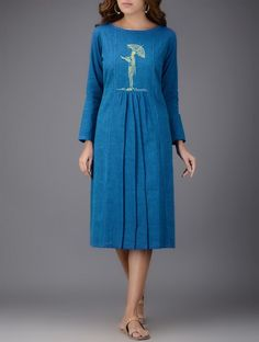 Blue Pleated Embroidered Cotton Dress