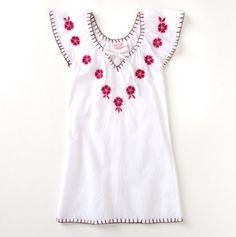 Embroidered Flower V-Neck Dress - white