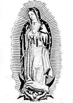 virgen de guadalupe dibujo blanco y negro - Buscar con Google