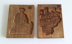 VTG SET 2 DUTCH HAND CARVED WOOD SPRINGERLE COOKIE MOLD TALL SHIP & CIGAR MAKER