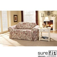 Chloe Floral Sofa Slipcover | Overstock.com  possible idea for shabby chic start