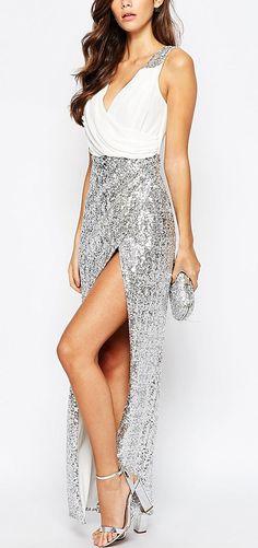 94db916cf6eeb Sequins V Neck Sleeveless Side Split Party Dress - OASAP.com